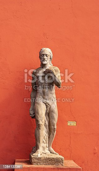 istock Statue of almost naked man in La Boca, Buenos Aires, Argentina. 1284132381