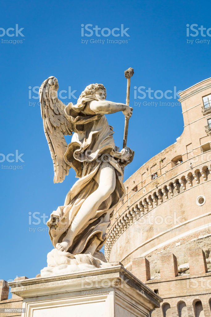 Statue of an Angel at Castel di Angelo in the Vatican stock photo