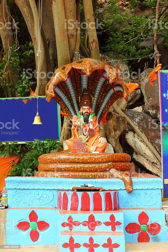 Statue of an Indian sage at Akka Maadevi cave stock photo