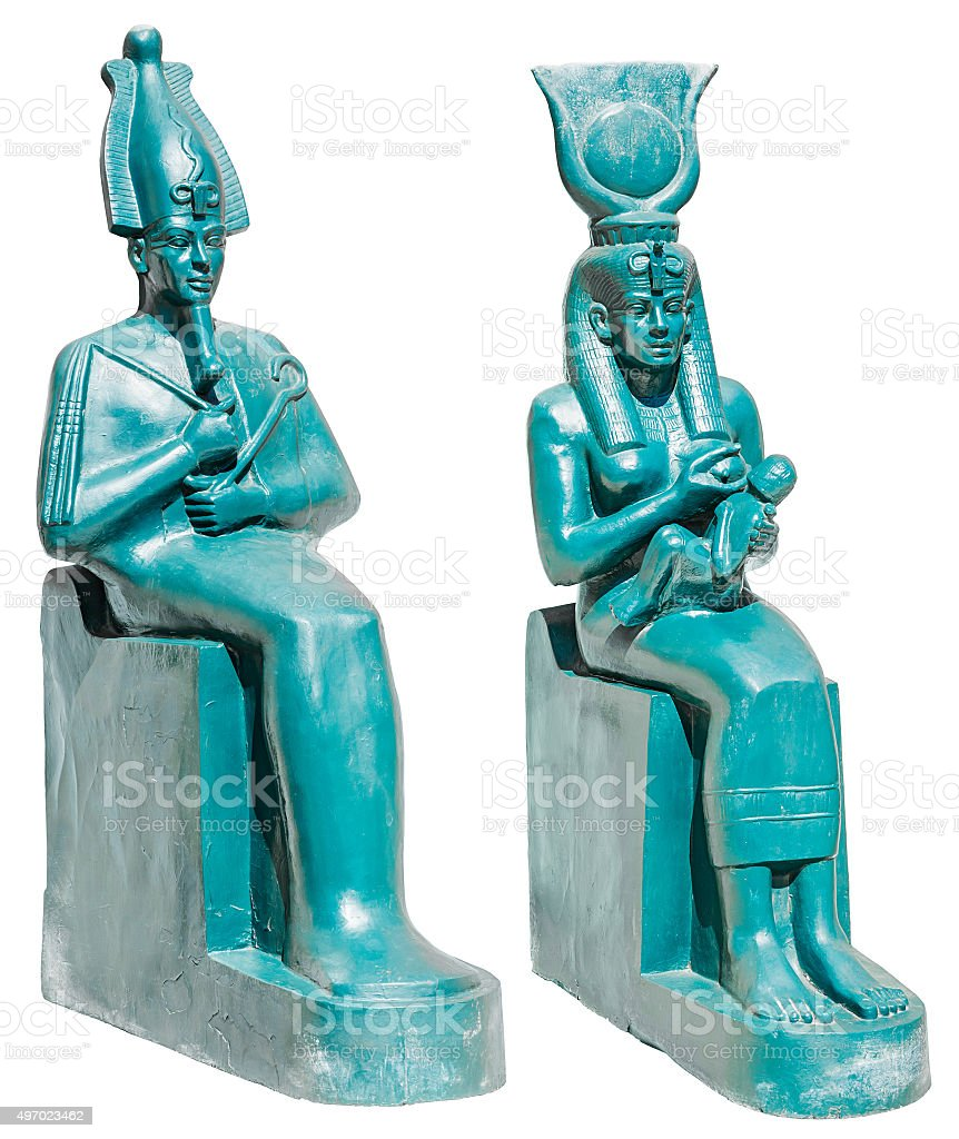 Statue of ancient egypt deities Osiris and Isis with Horus stock photo
