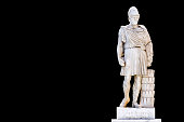 Full body Statue of ancient Greek statesman Pericles at Athinas street in Athens, Greece