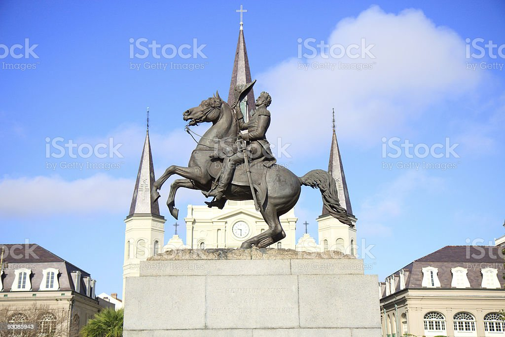 Statue of Andrew Jackson in New Orleans stock photo
