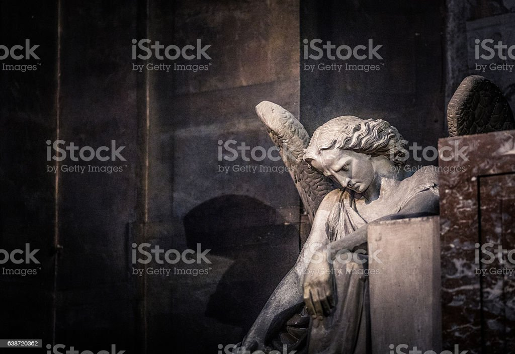 Statue of angel at St Sulpice stock photo