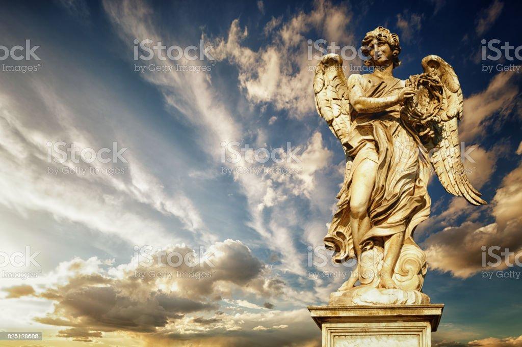 statue of angel on Bridge of Hadrian, Rome, Italy. stock photo