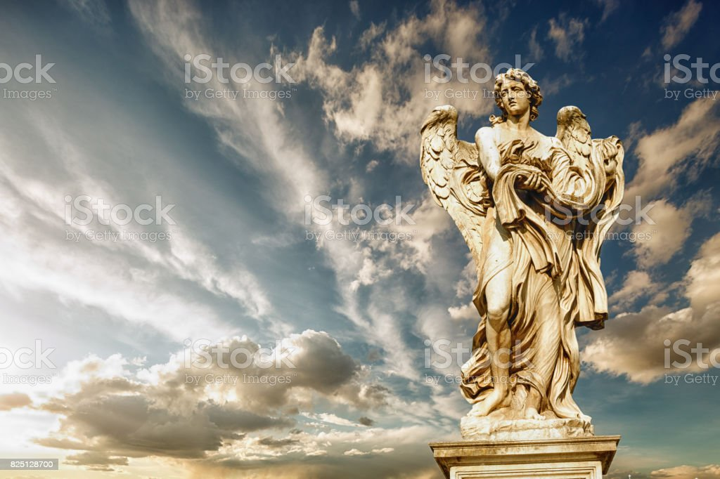 statue of angel on Bridge of Hadrian, Rome, Italy. stock photo