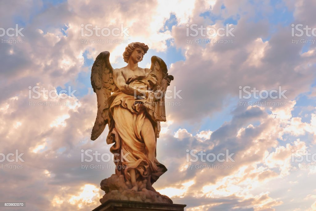 Statue of Angel on Saint Angel Bridge, Rome, Italy stock photo