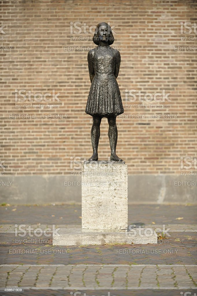 Statue of Anne Frank in Utrecht, the Netherlands stock photo