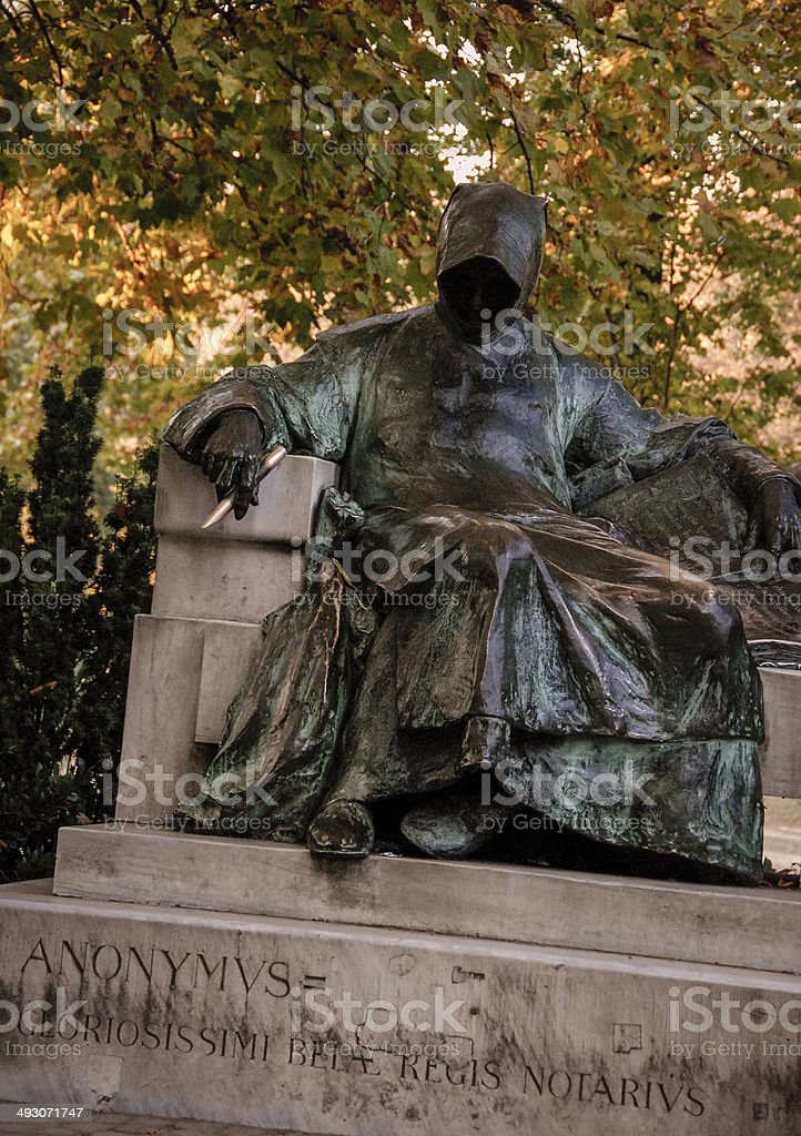 Statue of Anonymus in Budapest royalty-free stock photo