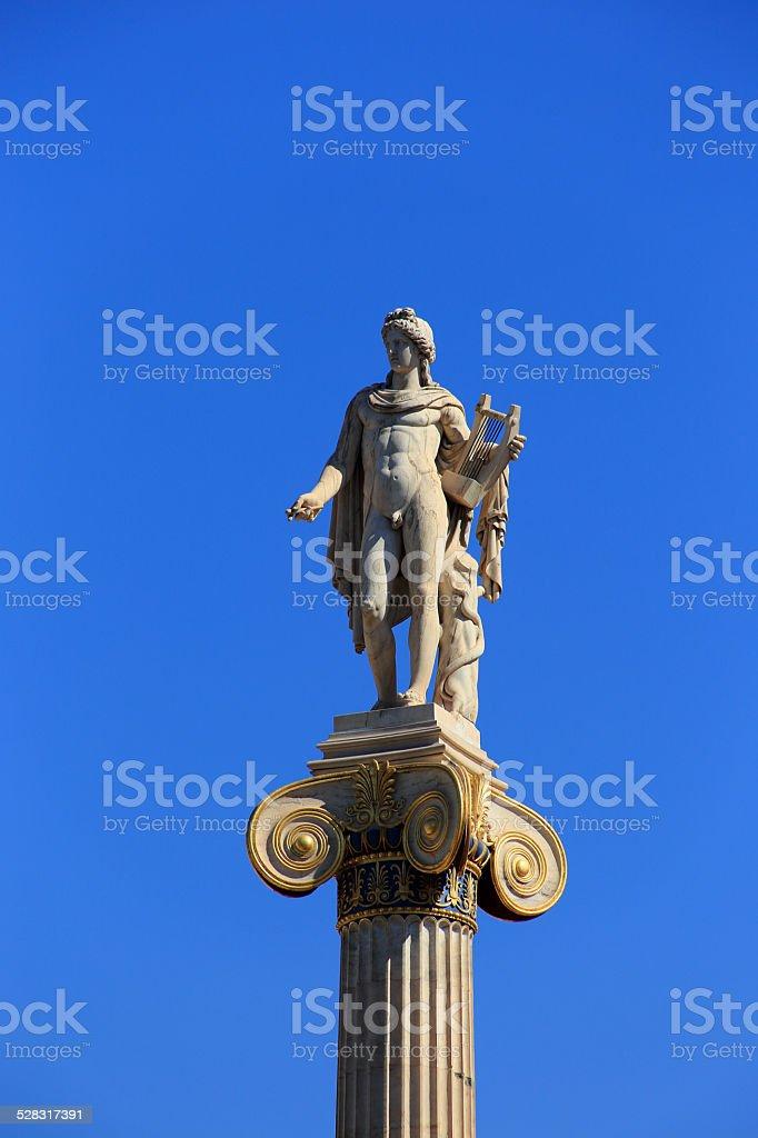 statue of Apollon on the column, Athens, Greece stock photo