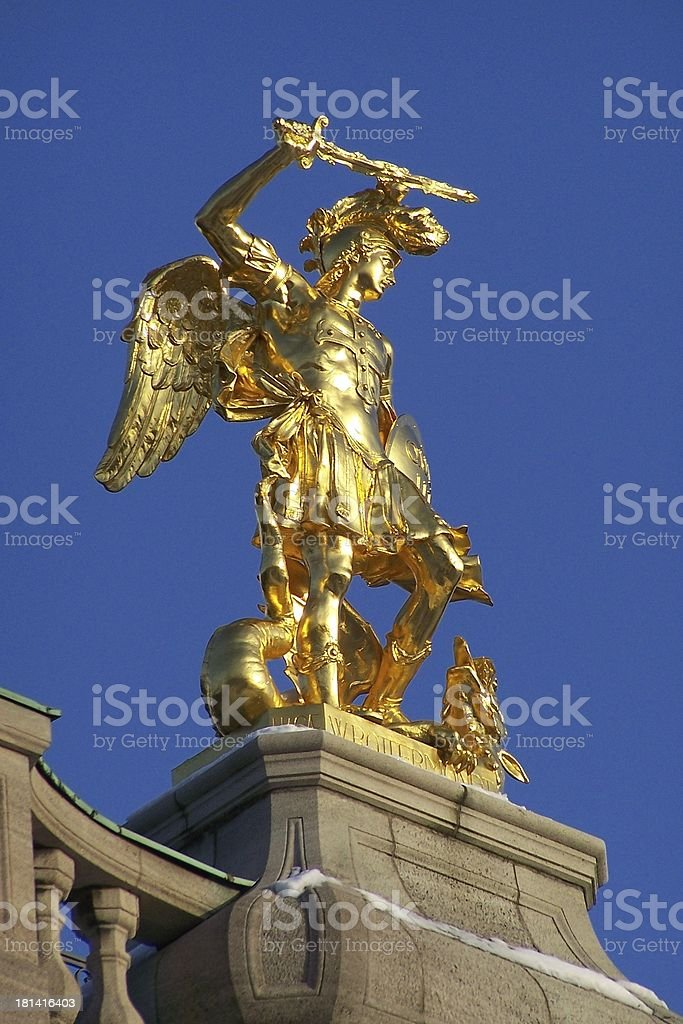 Statue of Archangel Michael stock photo