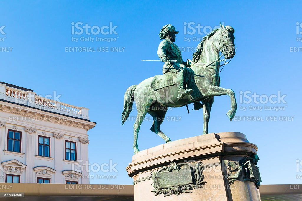 Statue of Archduke Albrecht outside Albertina Museum, Vienna stock photo