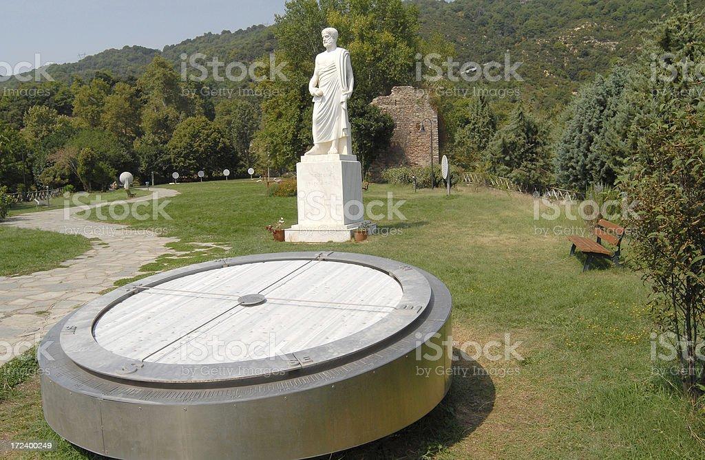 Statue von Aristoteles, compass – Foto