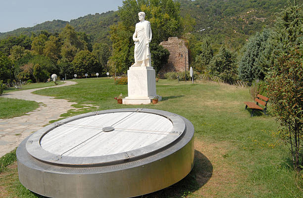 Statue of Aristotle, compass stock photo