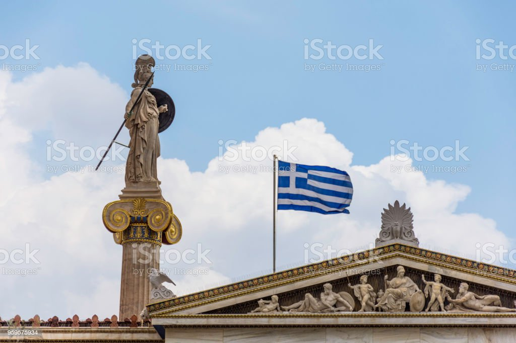 Statue Of Athena at Academy of Athens, Greece stock photo
