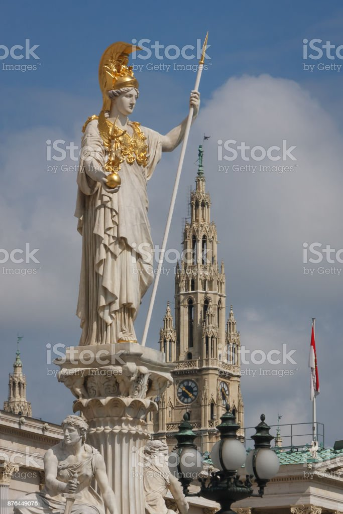 Statue of Athena goddess in front of Parliament building in the center of Vienna, Austria stock photo