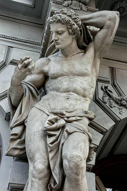 Statue of Atlas on Andrassy street stock photo