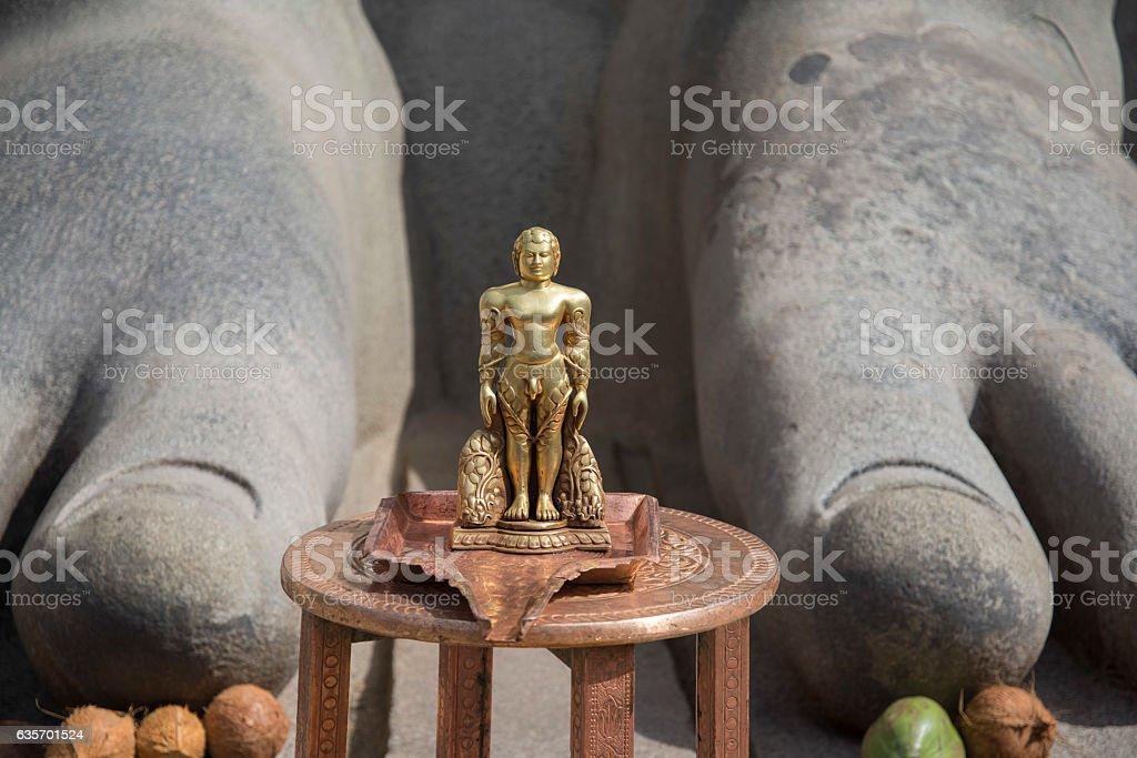 Statue of Bahubali at Shravanabelagola India. stock photo