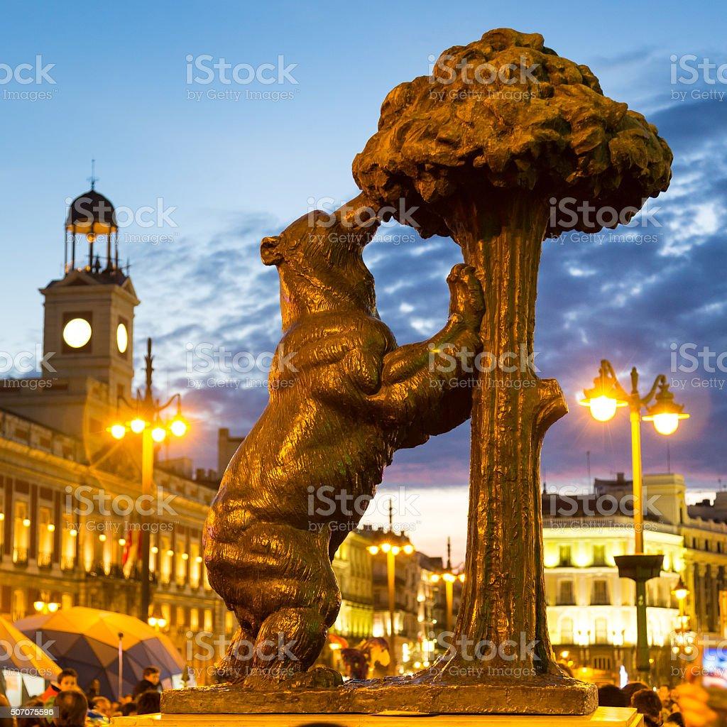Statue of bear on Puerta del Sol, Madrid, Spain. stock photo