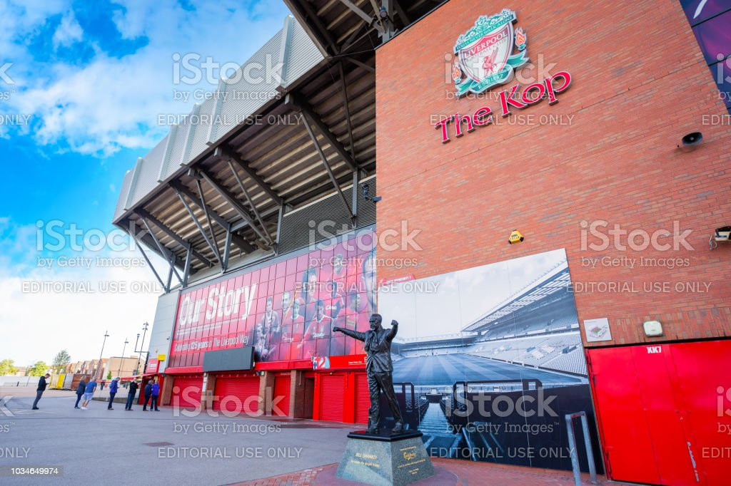 Statue of Bill Shankly in front of Anfield stadium in Liverpool, UK stock photo