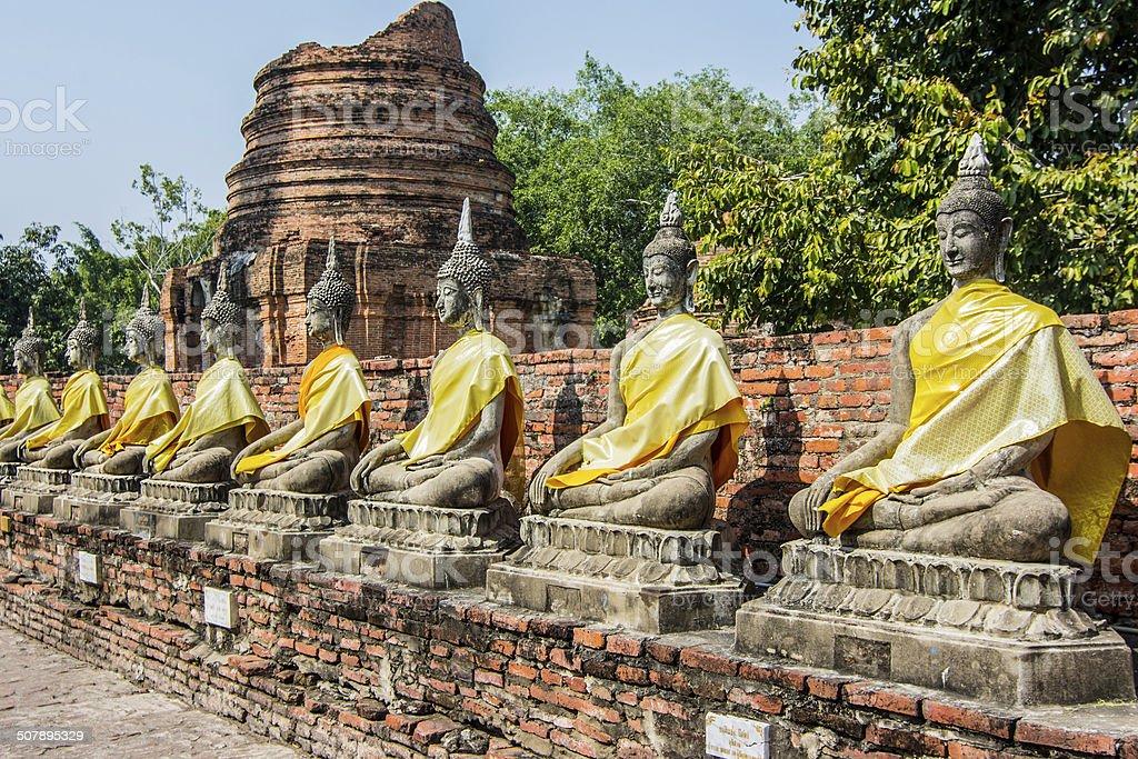 Statue of buddha at Wat Yai Chaimongkol stock photo
