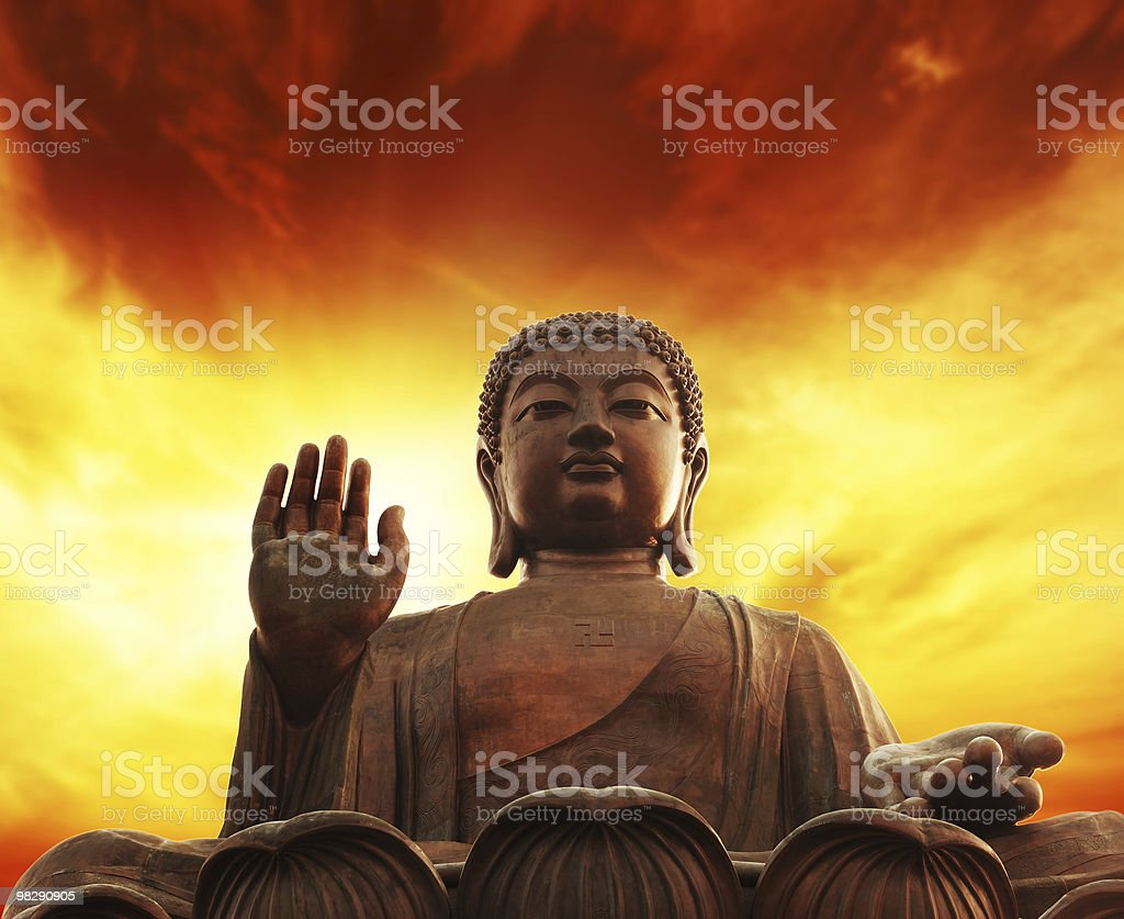 Statue of Buddha on Lantau island (Hong Kong) royalty-free stock photo