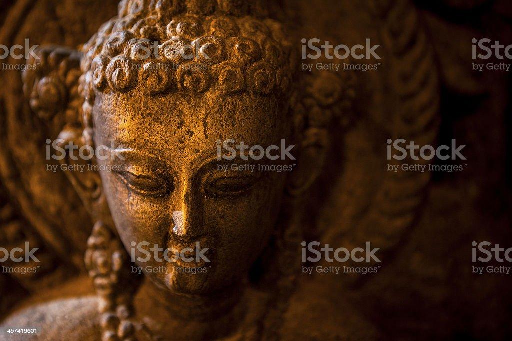 statue of Buddha taken in Swayambhunath, the Monkey Temple stock photo