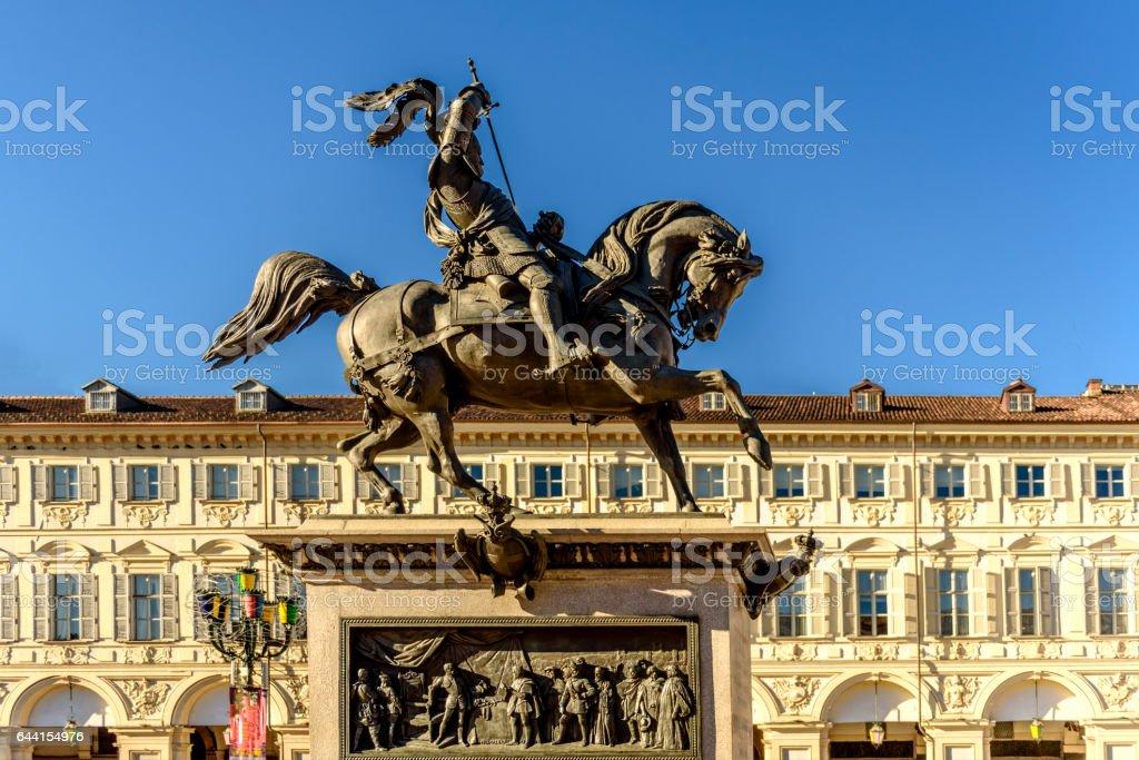 Statue of Carlo Alberto di Savoia in Turin stock photo