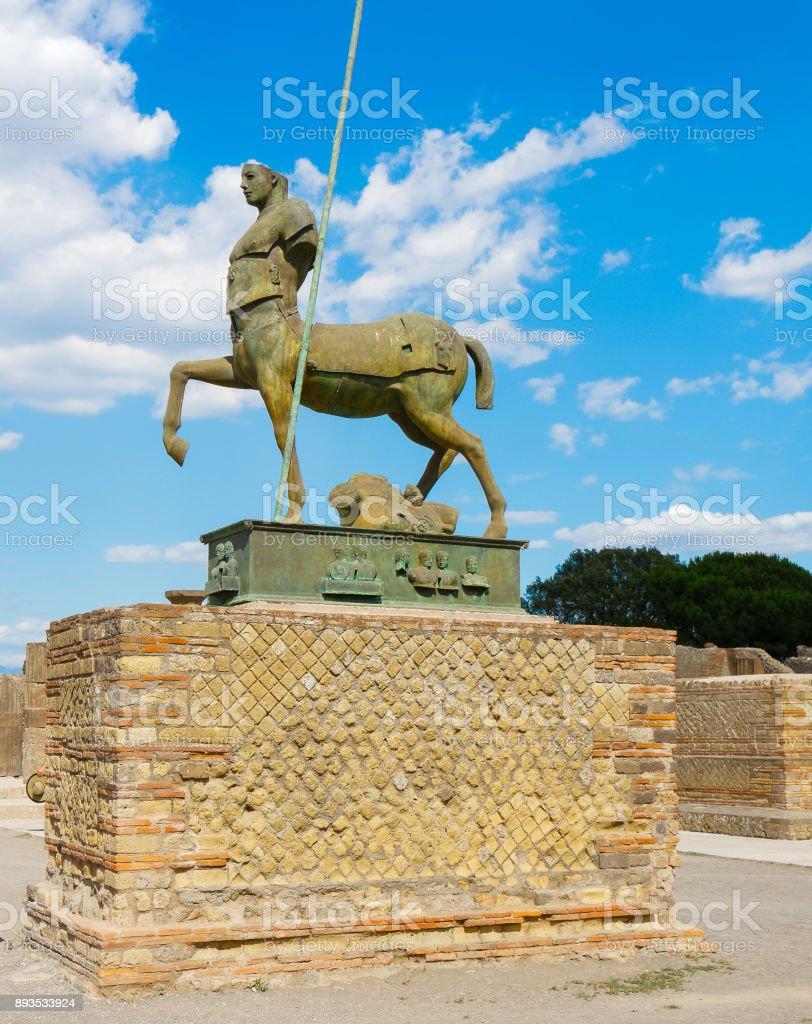 Statue Of Centaur Half Man Half Horse In Pompeii Stock Photo