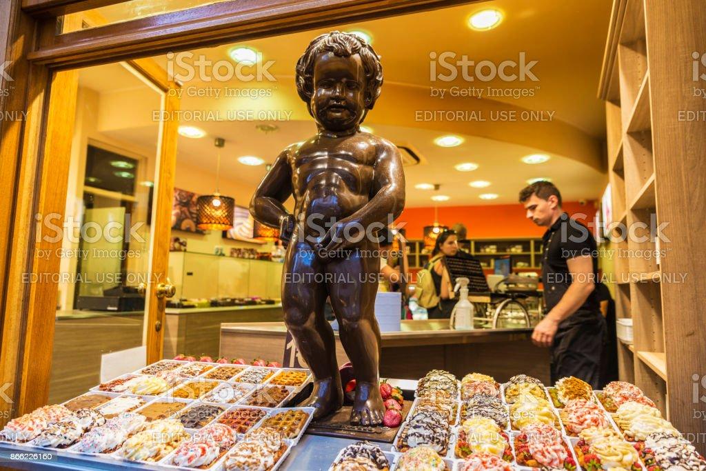 Statue of chocolate of Manneken pis in Brussels, Belgium stock photo