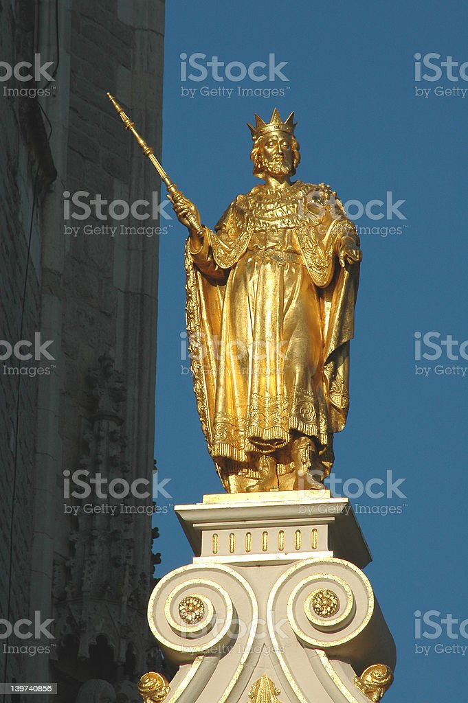 Statue of Christ On Top of Church In Brugges, Belgium royalty-free stock photo