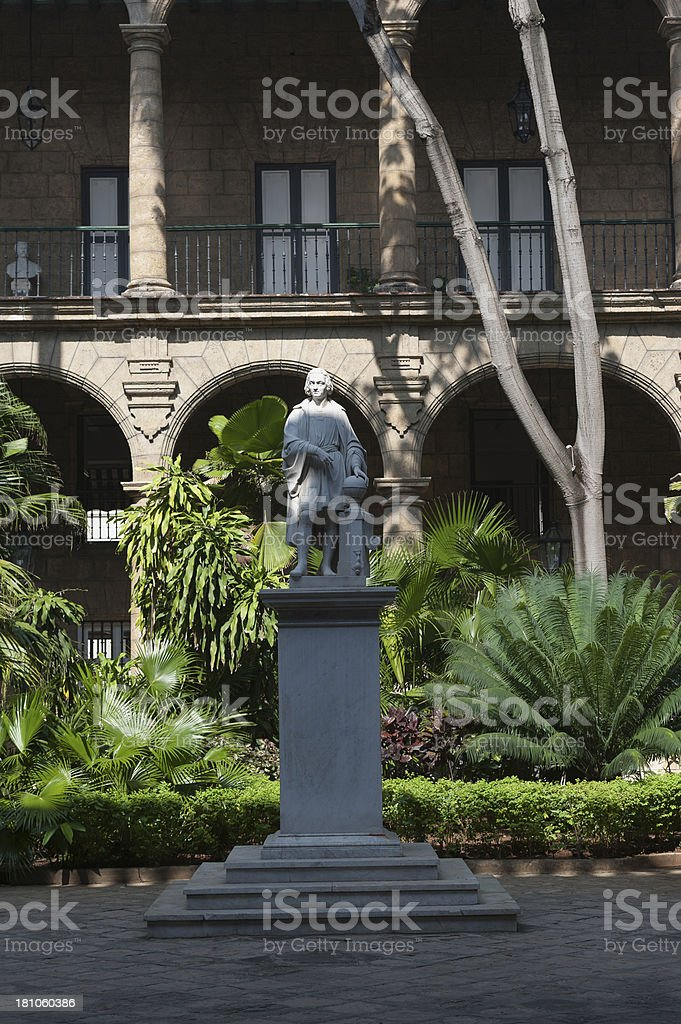 statue of Christopher Columbus in downtown Havana, cuba royalty-free stock photo