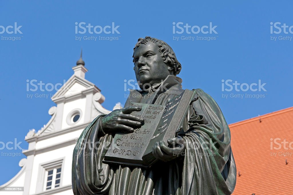 Statue of church reformer Martin Luther stock photo