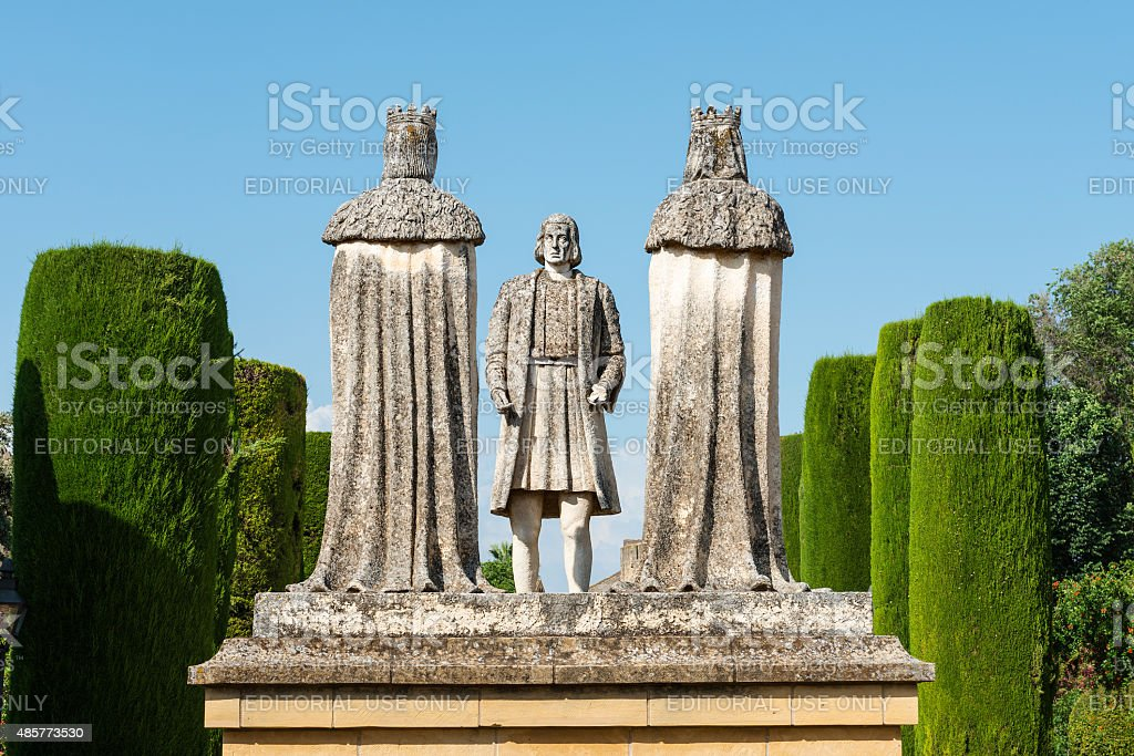 Statue of Colon and the Christian Kings in Cordoba stock photo