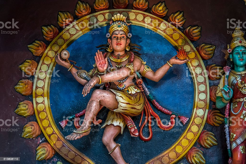 Statue of colourful hindu god at Batu caves, Kuala-Lumpur, Malaysia stock photo