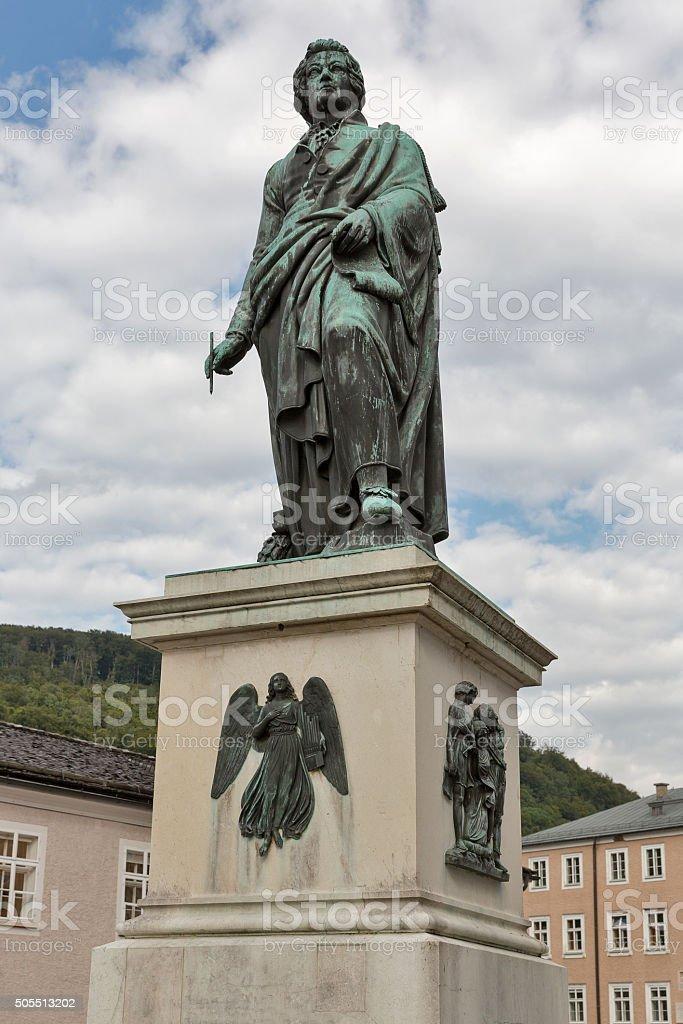 statue of composer Mozart in Salzburg stock photo