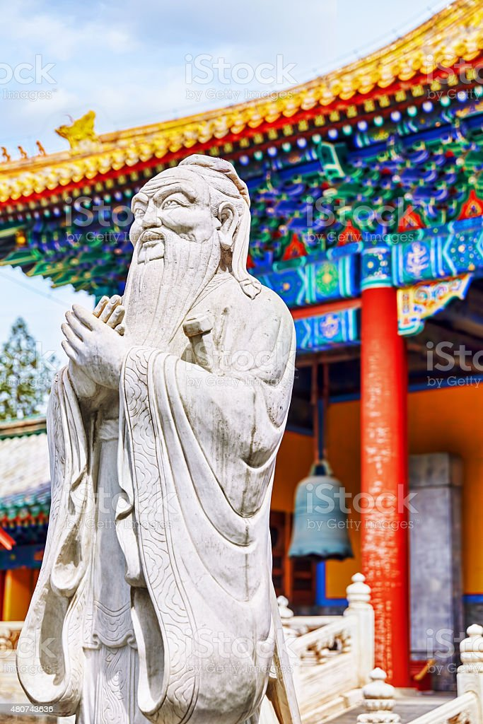 Statue of Confucius, the great Chinese philosopher. stock photo