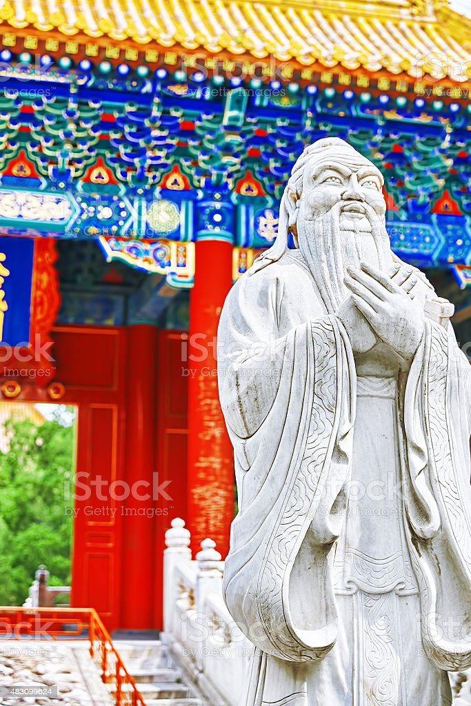 Statue of Confucius, the great Chinese philosopher . stock photo