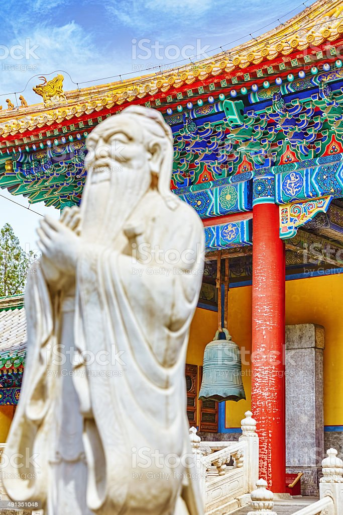 Statue of Confucius, the great Chinese philosopher stock photo