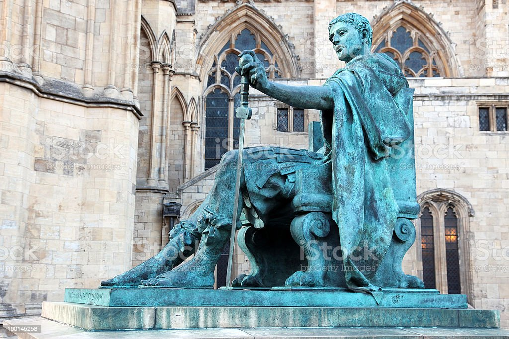 statue of Constantine I outside York Minster in England , UK stock photo