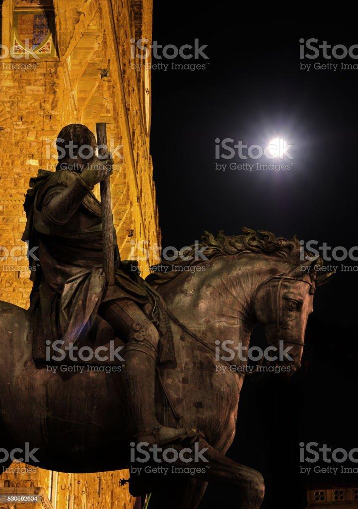 Statue of Cosimo de Medici under Full Moon - Piazza della Signoria, Florence, Tuscany, Italy, Europe stock photo
