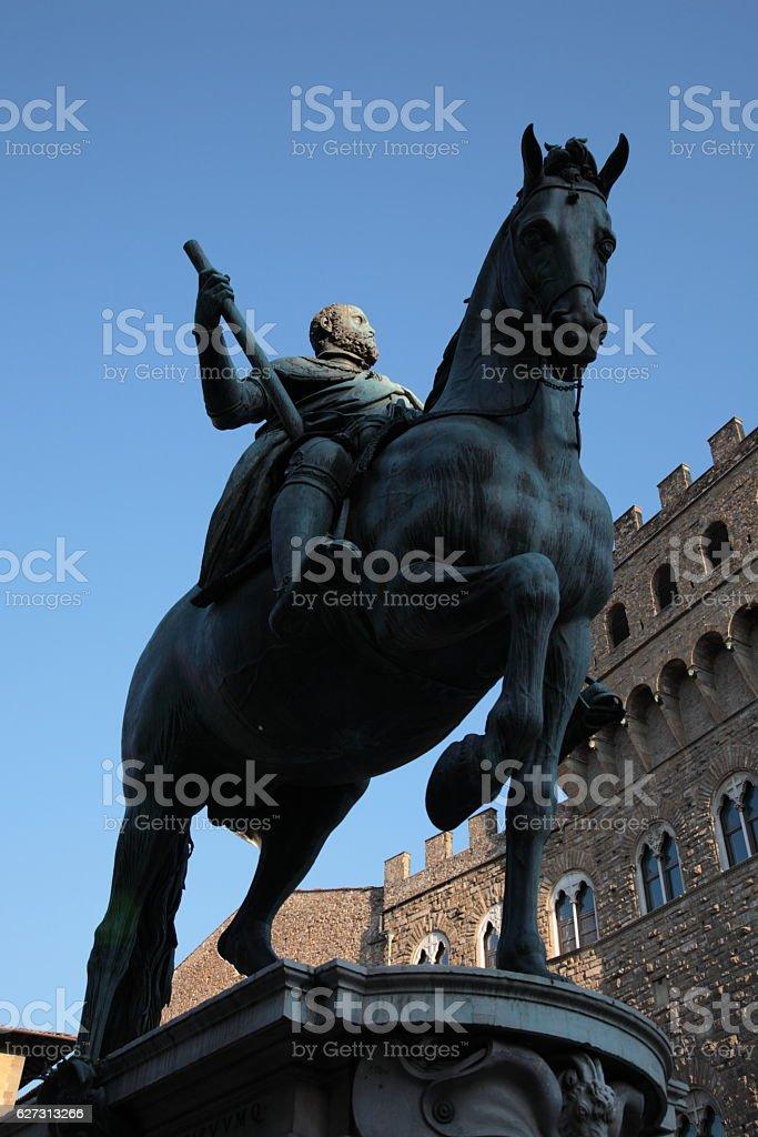 Statue of Cosimo I at Piazza della Signoria, Florence, Italy stock photo