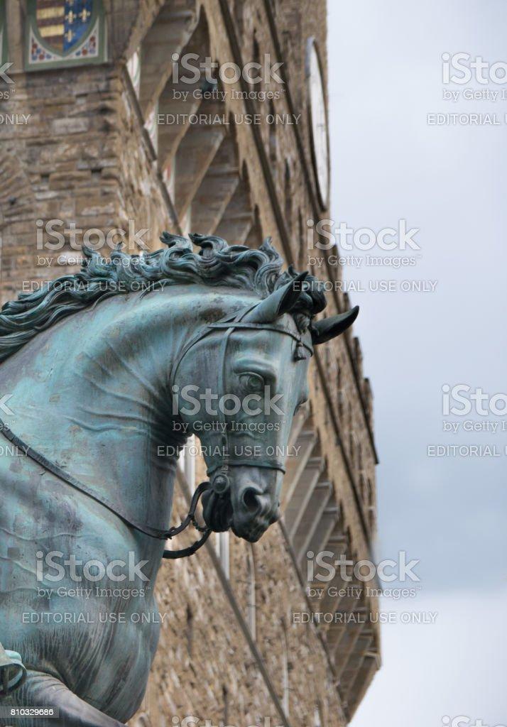 Statue of Cosimo I de' Medici by Giambologna, Florence, Italy stock photo