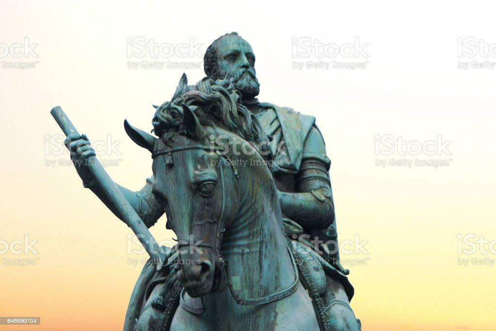 Statue of Cosimo I de' Medici in Florence, Italy stock photo