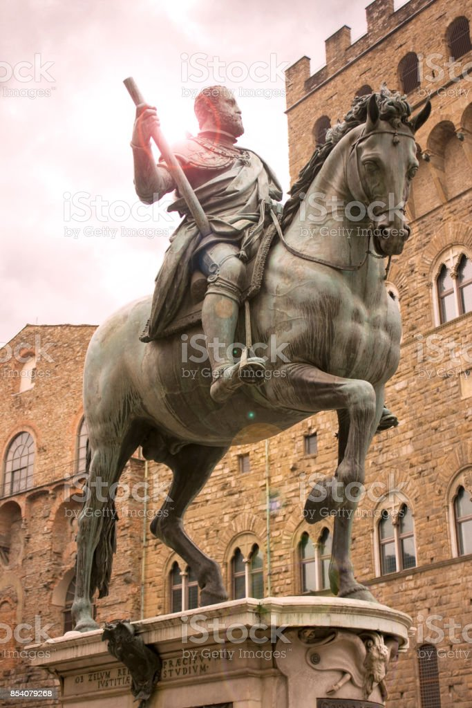 Statue of Cosimo I of Medici, in front of Palazzo Vecchio, Florence, Italy stock photo