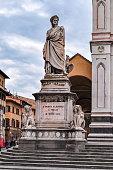 Florence, Italy - May 2018: Statue of Dante Alighieri near Santa Croce basilica