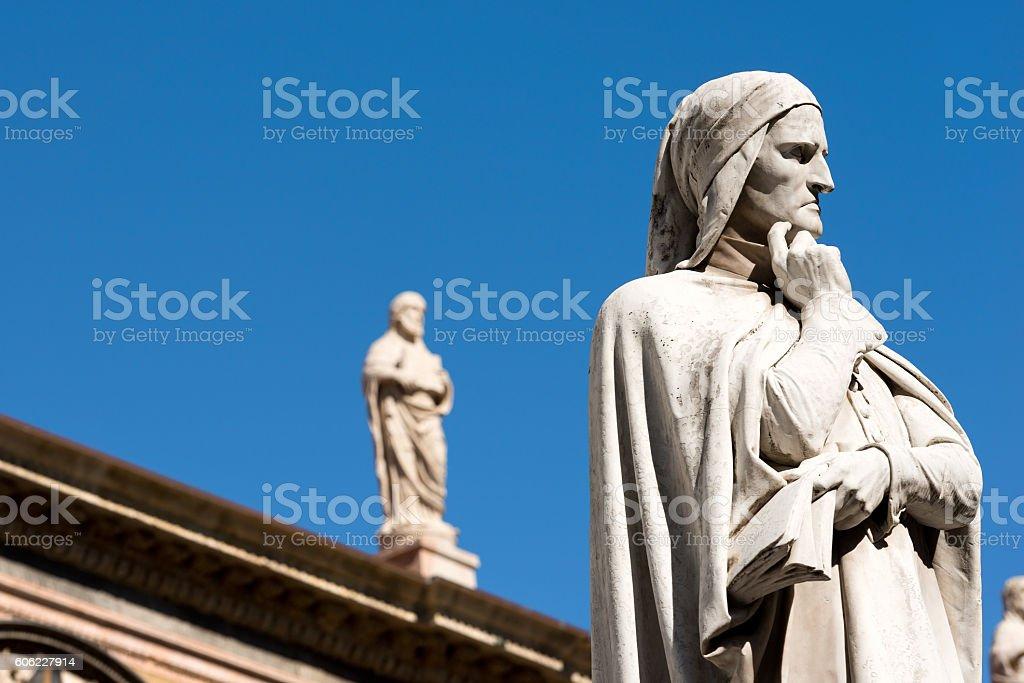Statue of Dante Alighieri in Verona - Italy stock photo