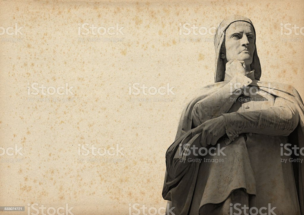 Statue of Dante on Yellowed Paper stock photo
