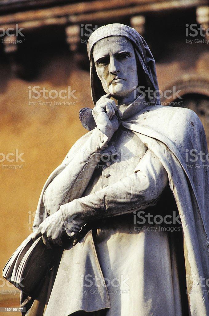 Statue of Dante stock photo