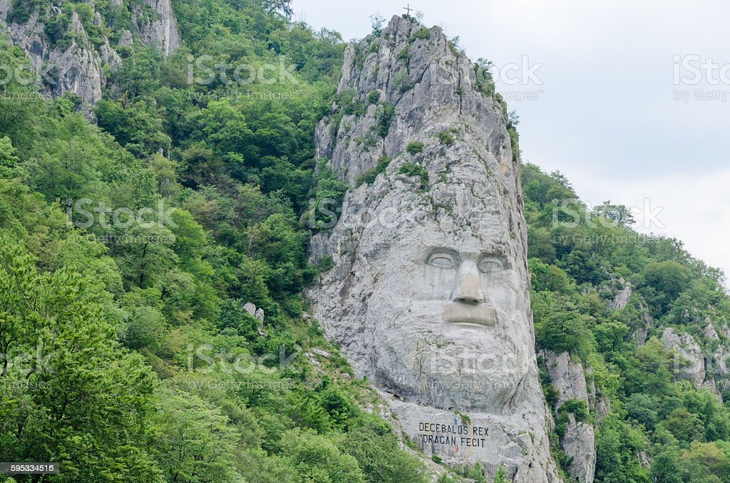 Statue of Decebalus, King of Dacia (present-day Romania) on rive stock photo