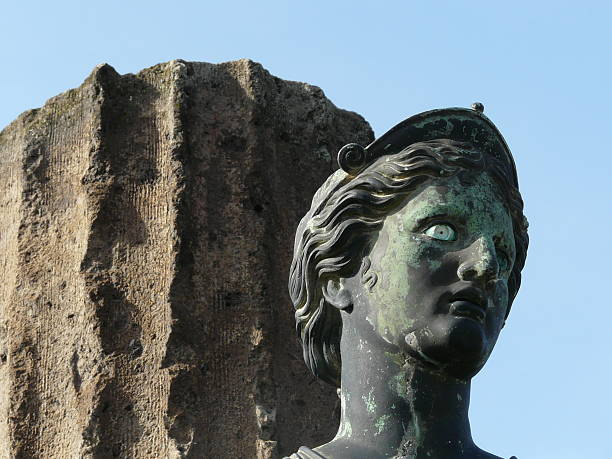 Statue of Diana at the ancient city of Pompeii Statue of Diana and a column at the ancient Roman city of Pompeii, which was destroyed and buried by ash during the eruption of Mount Vesuvius in 79 AD artemis stock pictures, royalty-free photos & images